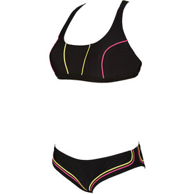 arena Sporty 2 Crossed Top Swimsuit Women black/soft green/fresia rose